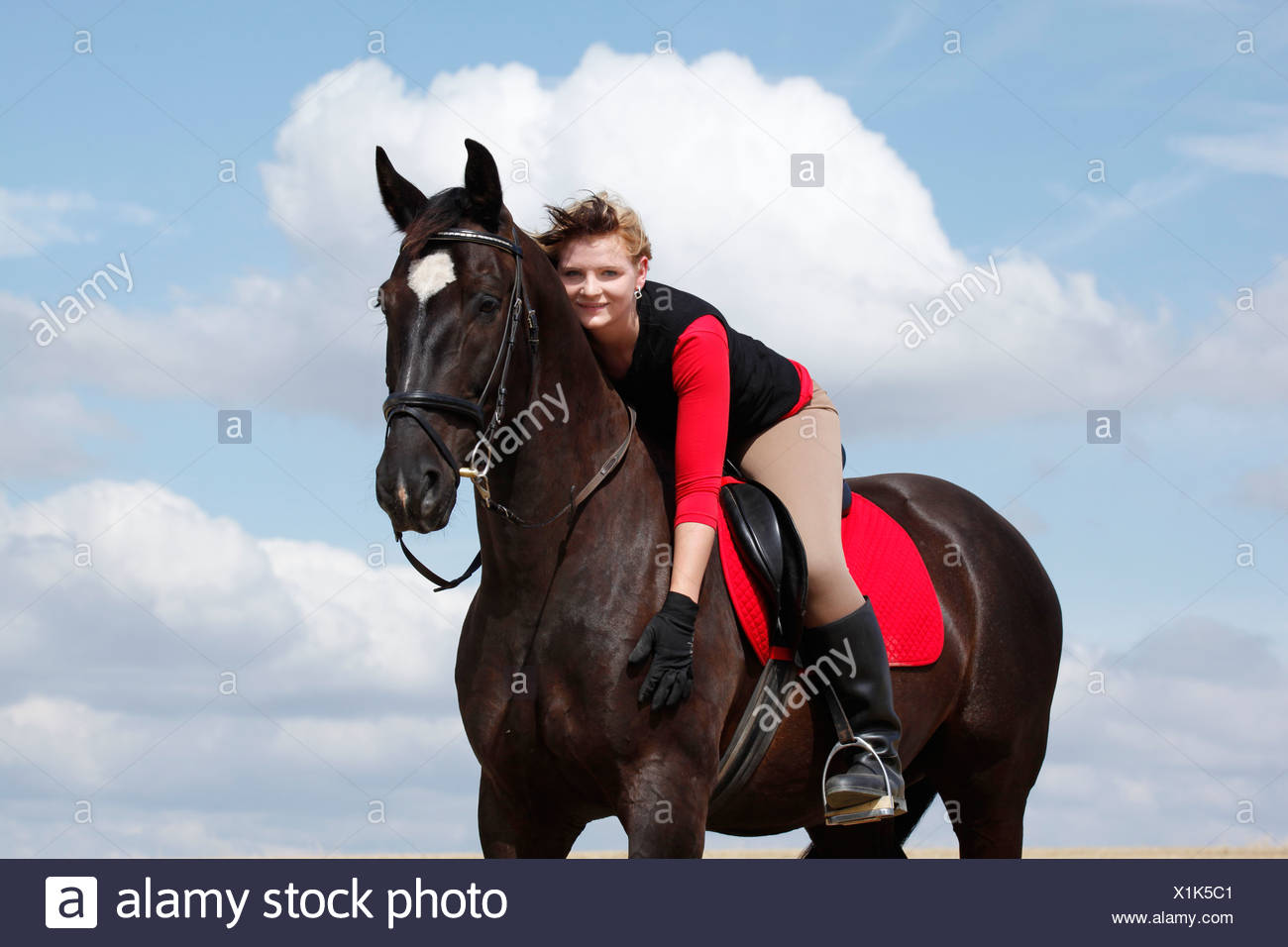 riding woman - Stock Image