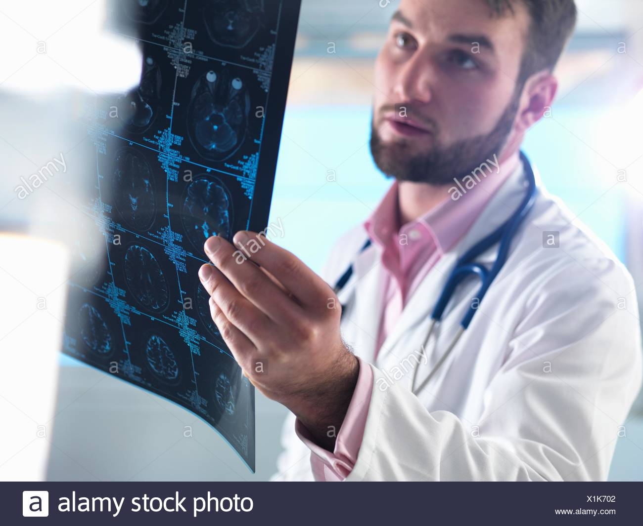 Junior doctor examining a brain scan in hospital - Stock Image