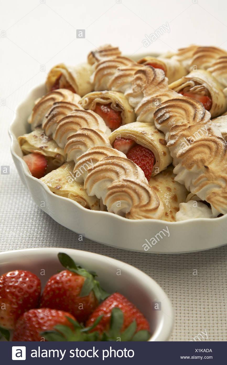 Gratinated Strawberries Pancakes - Stock Image