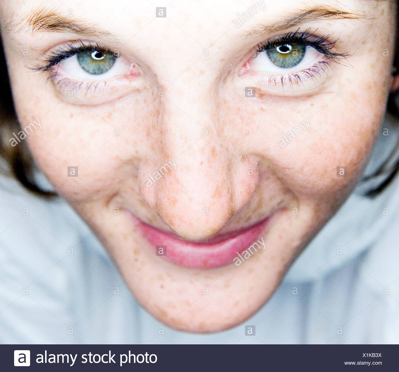 Detail of Freckled Face - Stock Image