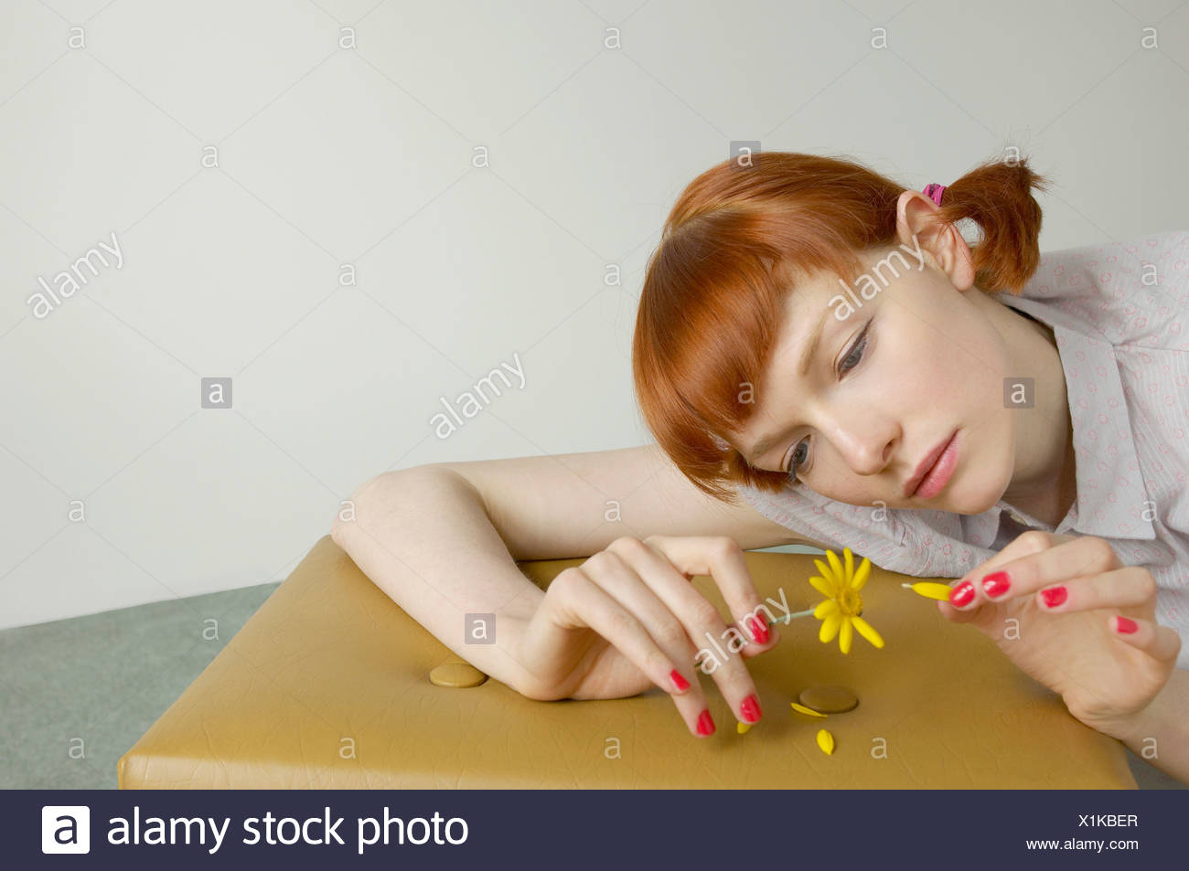 woman pulling petals from daisy - Stock Image