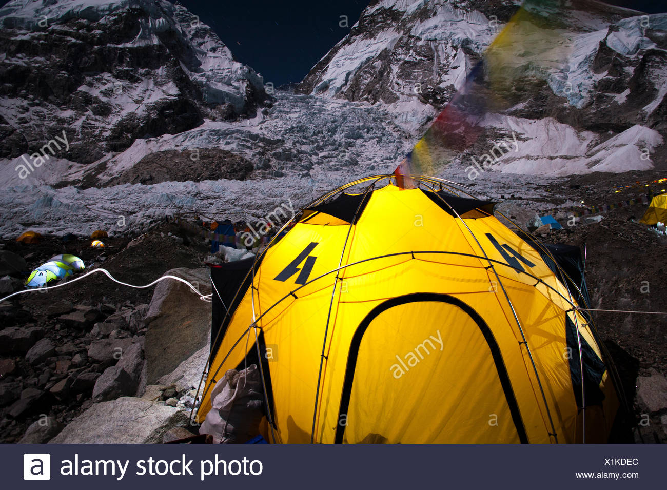 Tent beneath Khumbu Icefall at Mount Everest, Nepal - Stock Image
