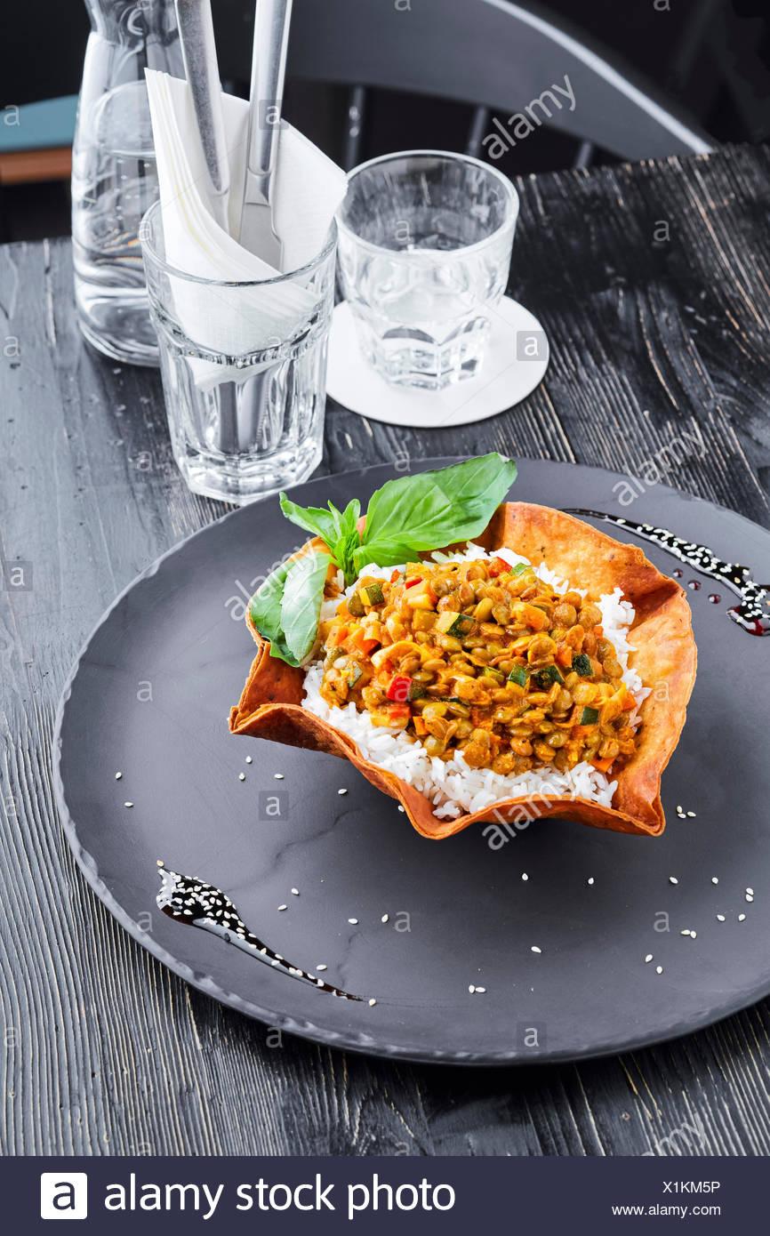Chilli con carne and tortilla - Stock Image