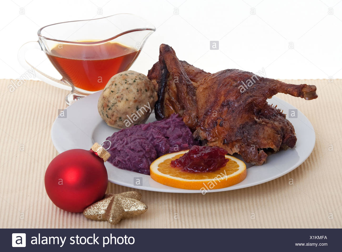 duck poultry red cabbage - Stock Image