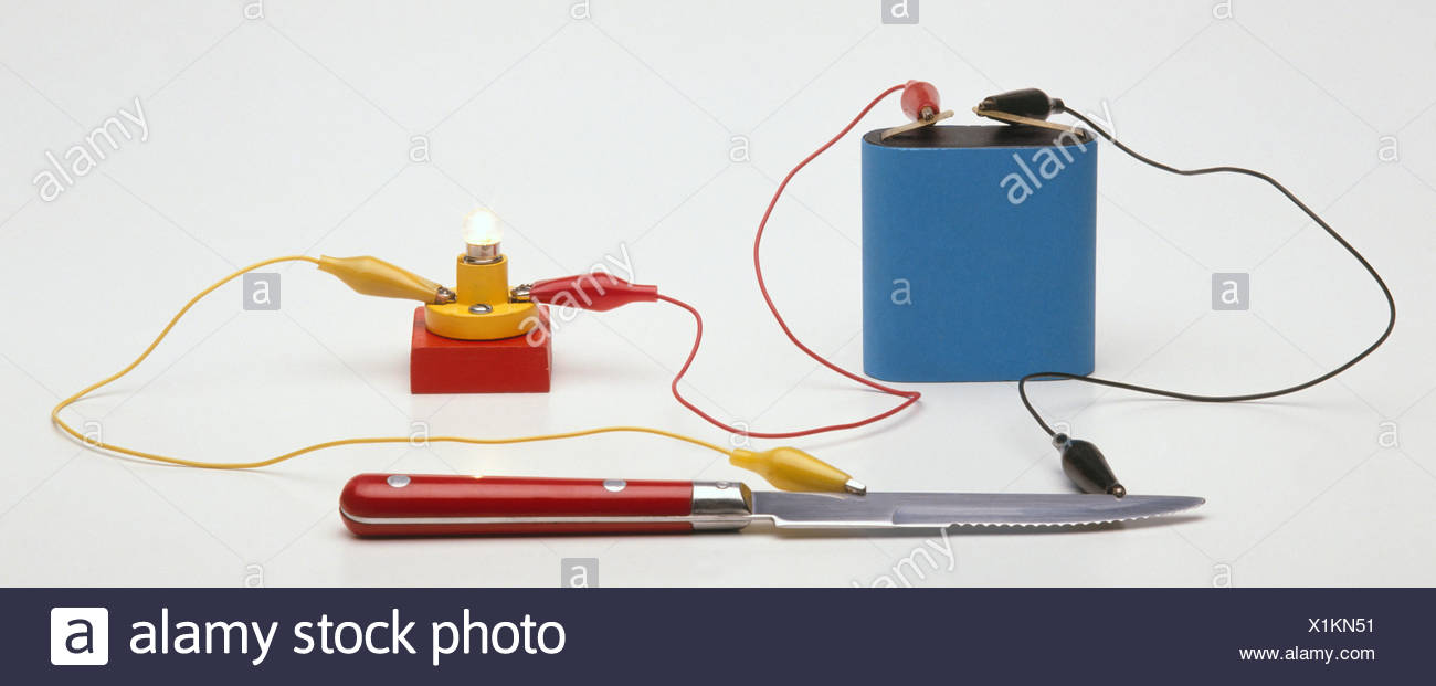 Testing for conductivity using a battery connected by a lead to a small light bulb, a lead leading from the battery to a knife and a lead from the bulb to the knife - Stock Image