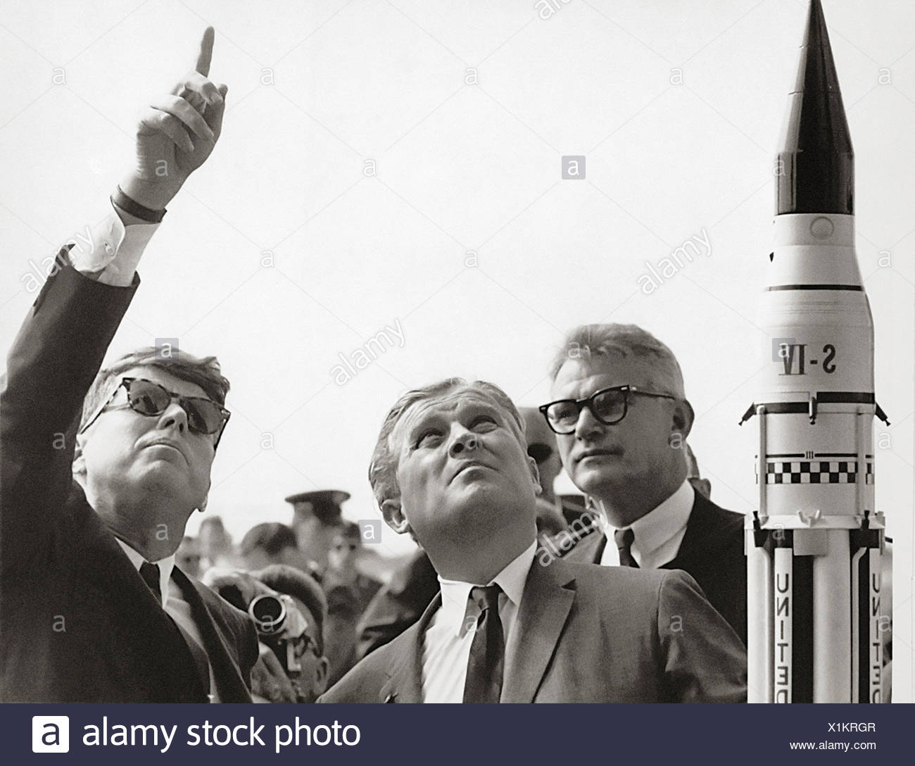 Seamans, von Braun and President Kennedy at Cape Canaveral - Stock Image