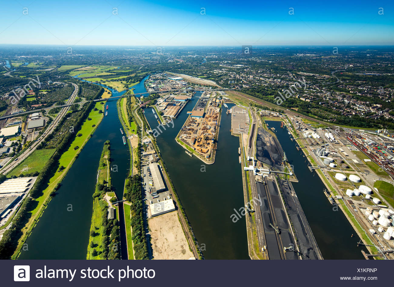 Duisport, inland port, Rhine, Duisburg, Ruhr district, North Rhine-Westphalia, Germany - Stock Image