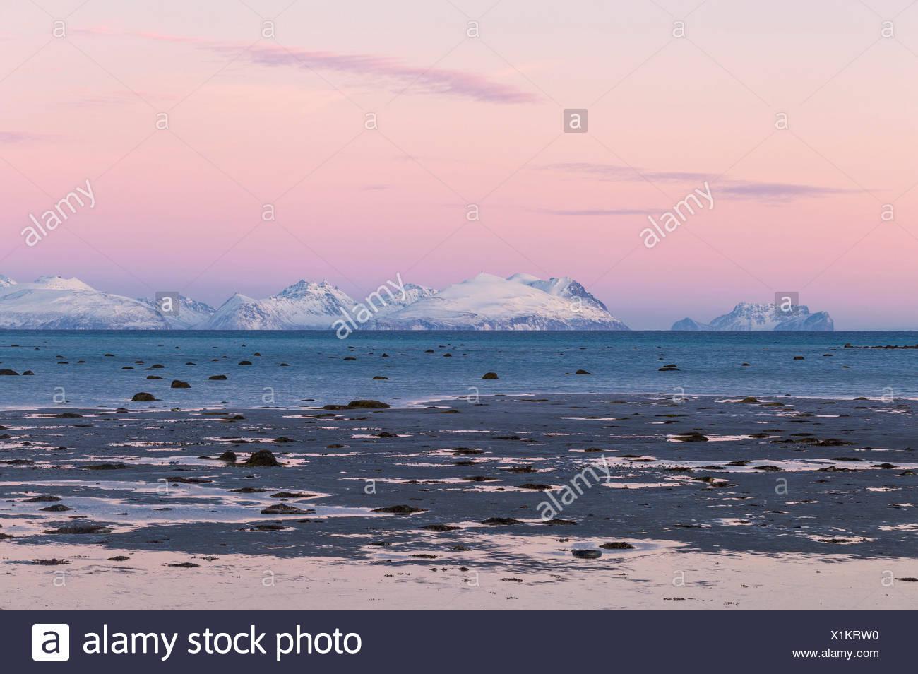 The colors of sunset illuminate the shoreline at low tide. Spaknesora naturreservat, Djupvik, Lyngenfjord, Lyngen Alps, Troms, Norway, Lapland, Europe. - Stock Image