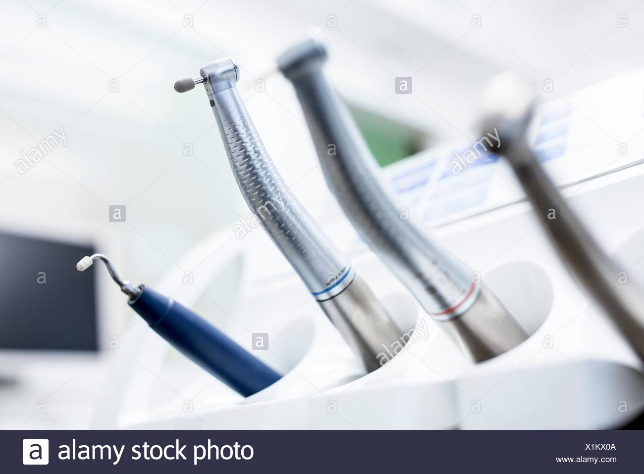 Close-up of dental drill machine in dentist clinic. - Stock Image