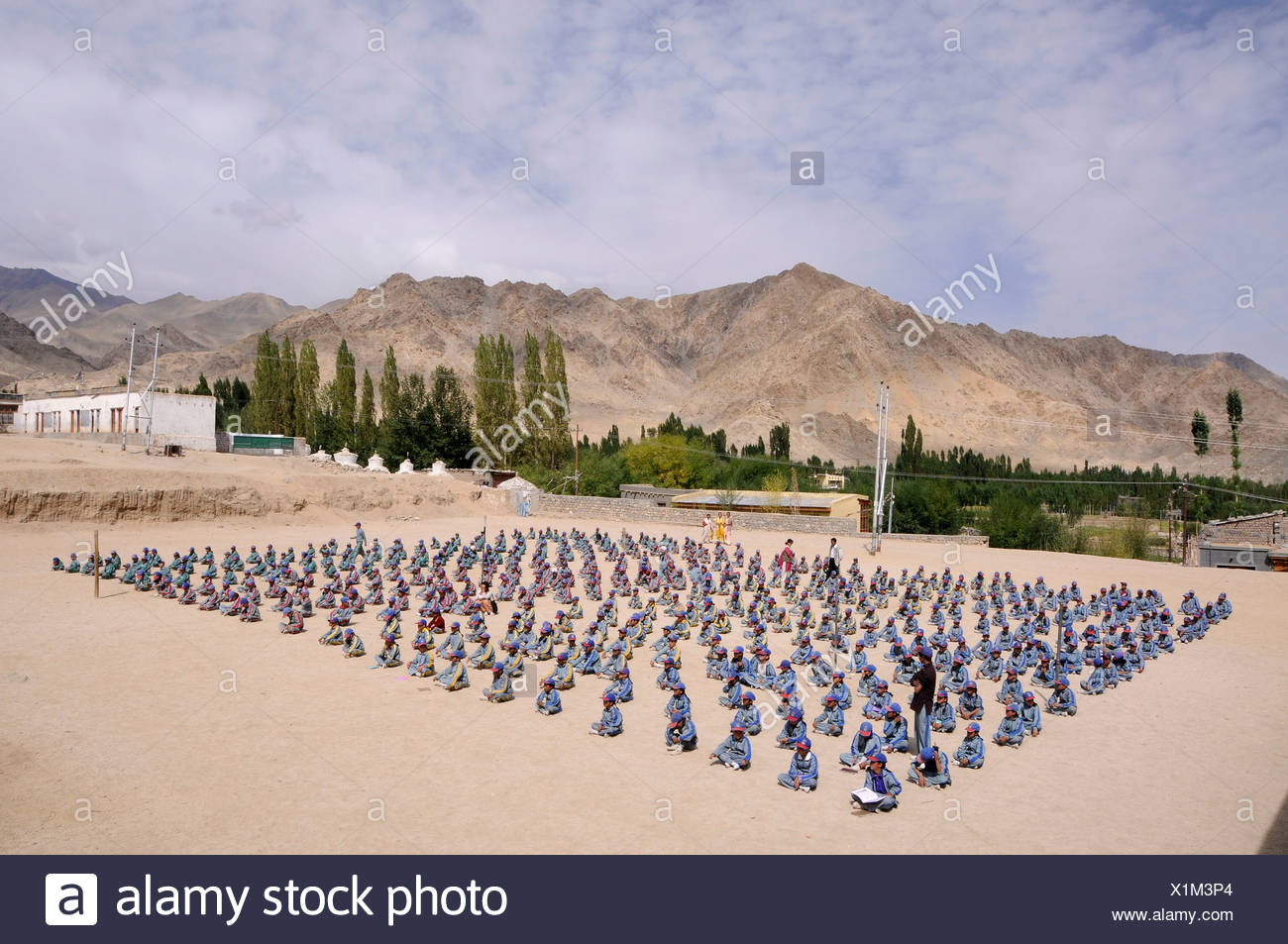 Morning report in the Indian school system at a school in Lamdon, Leh, Jammu and Kashmir, India, Himalayas, Asia - Stock Image