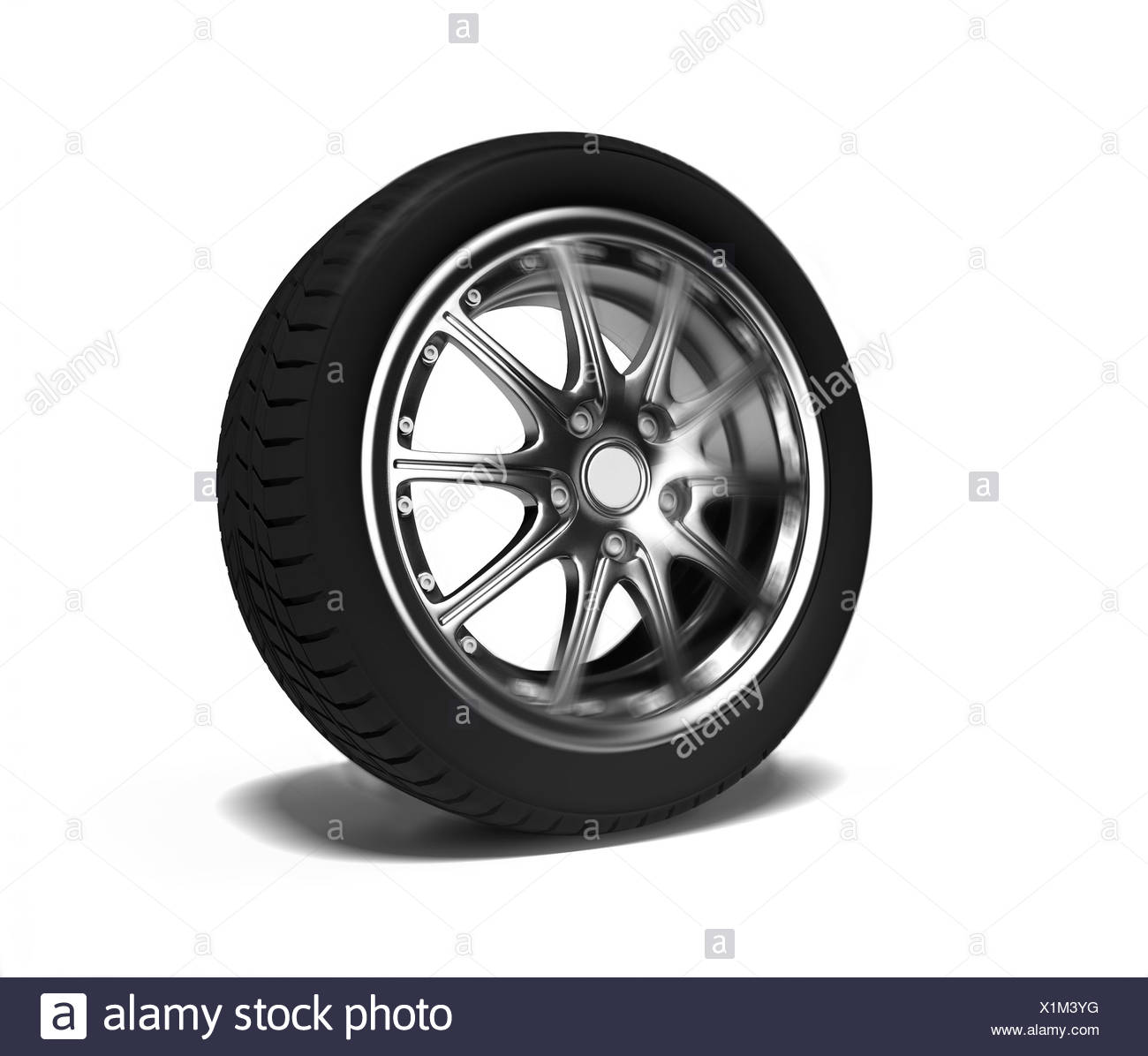 the auto wheel  in motion blur effect (3D) - Stock Image