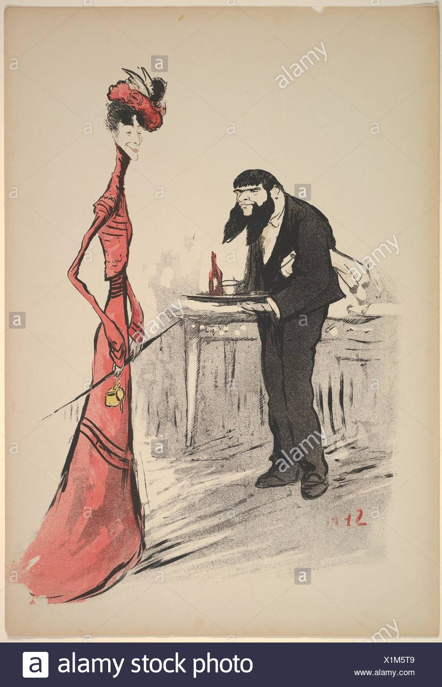 A Woman in Red and a Waiter with a Forked Beard. Artist: Georges Goursat [Sem] (French, Perigueux 1863-1934 Paris); Date: ca. 1900; Medium: Color - Stock Image