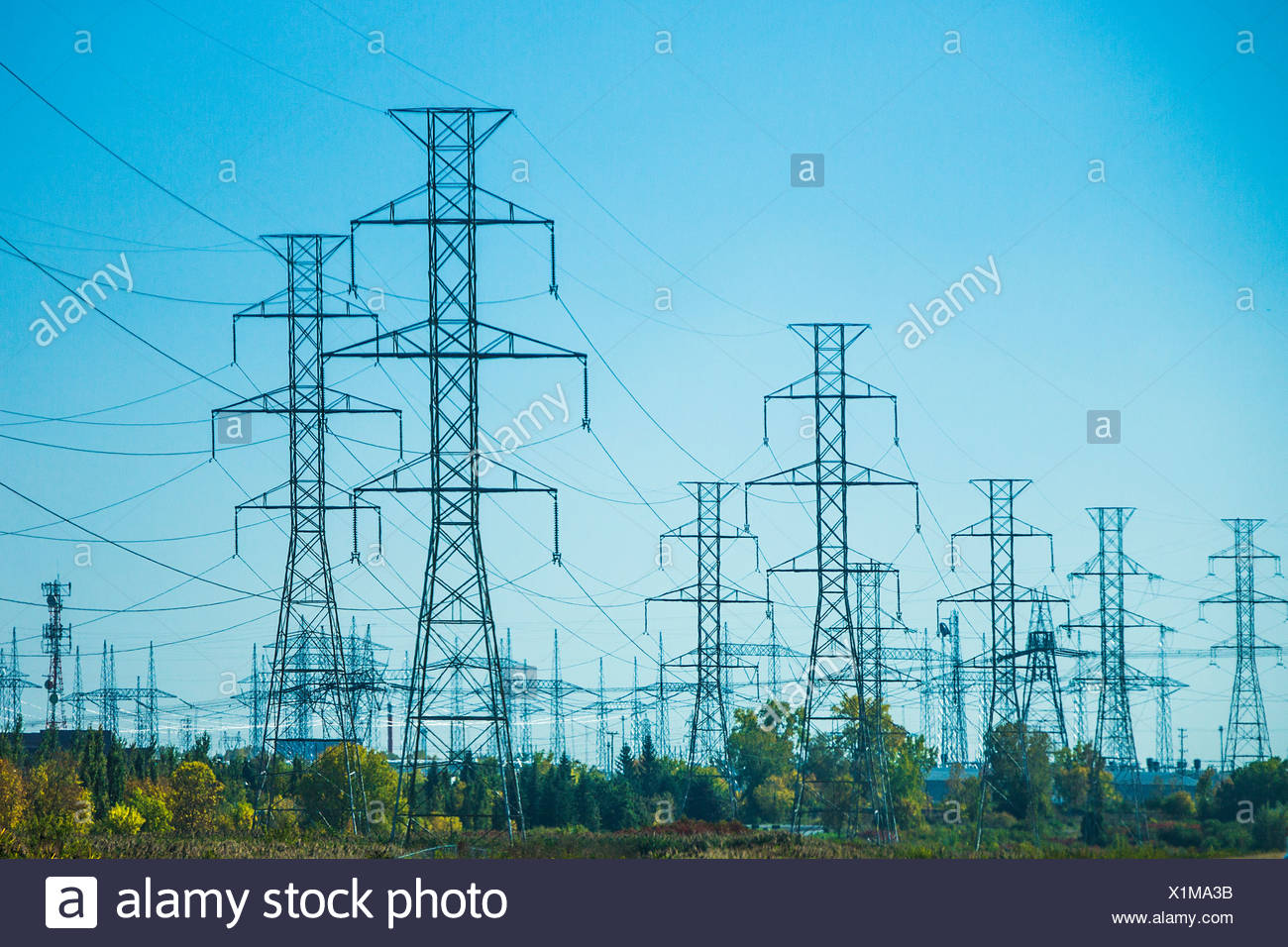 Canada, North America, Quebec, electricity, energy, high, industrial, industry, power, towers, voltage - Stock Image