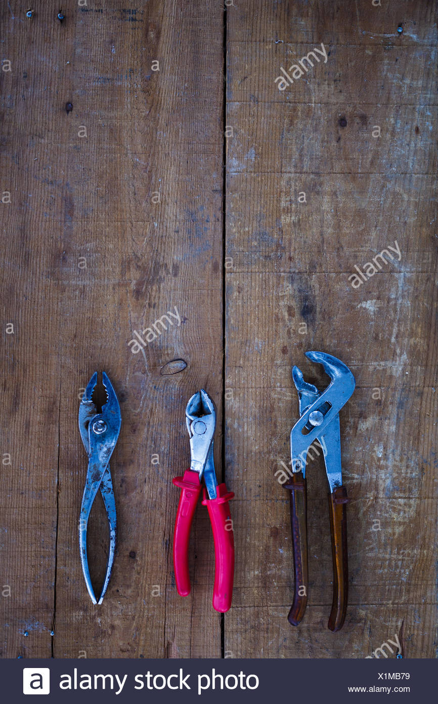 Directly Above Shot Of Pliers On Table - Stock Image