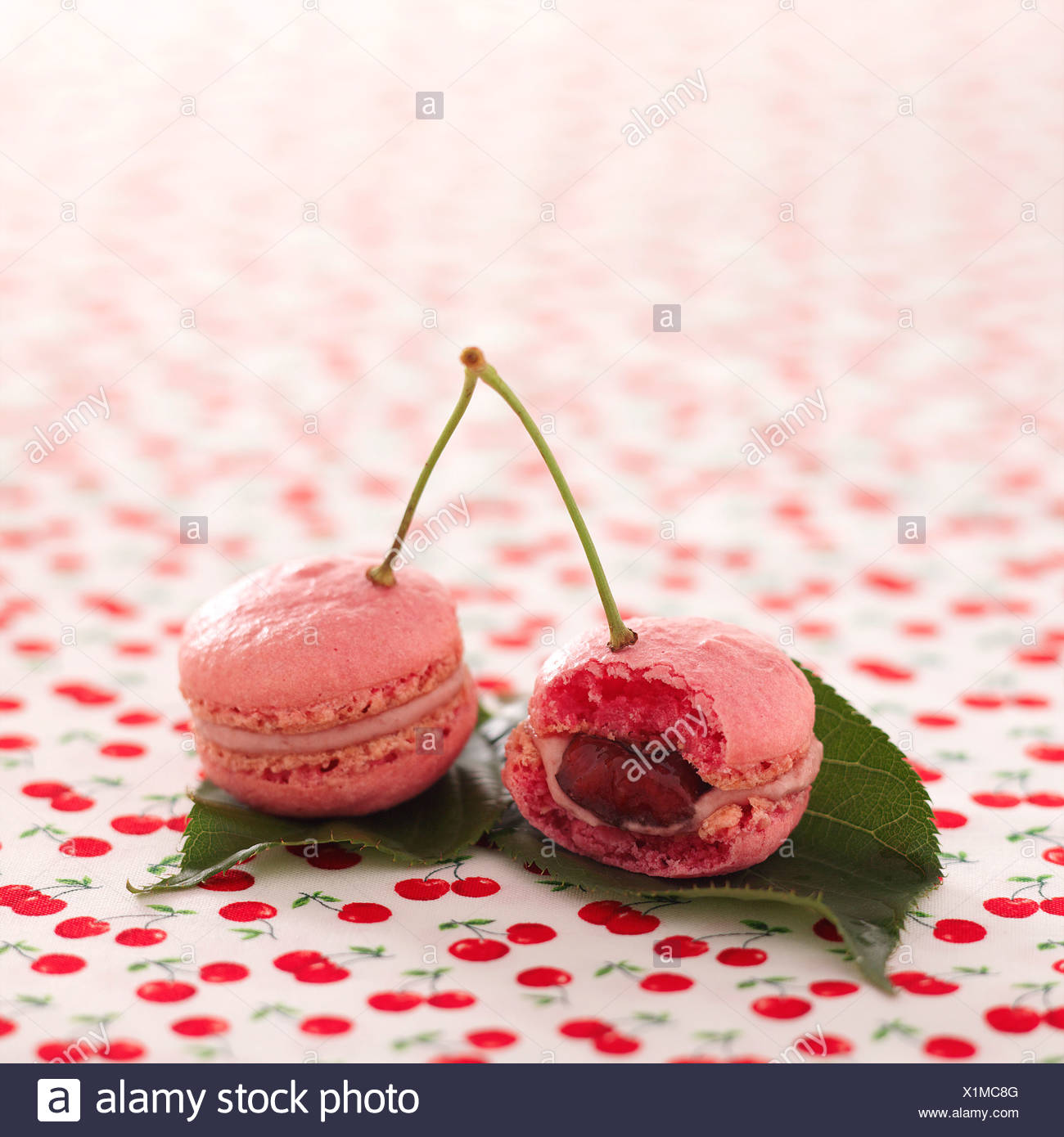 Sour griotte cherry and cinnamon macaroons - Stock Image
