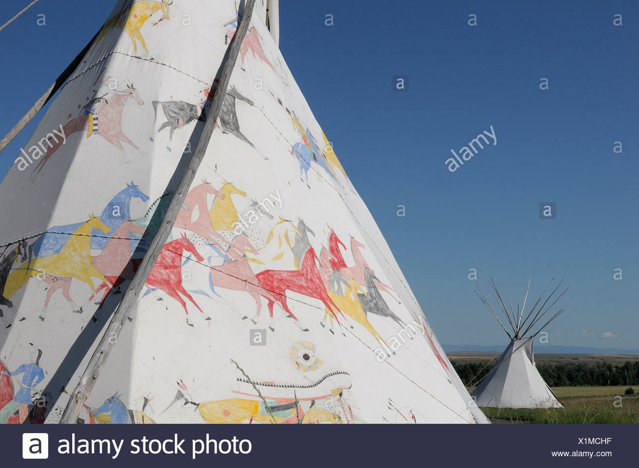 Tipi Custer Battlefield Trading Post Crow Agency Crow Indian Reservation Montana USA tipi indian - Stock Image