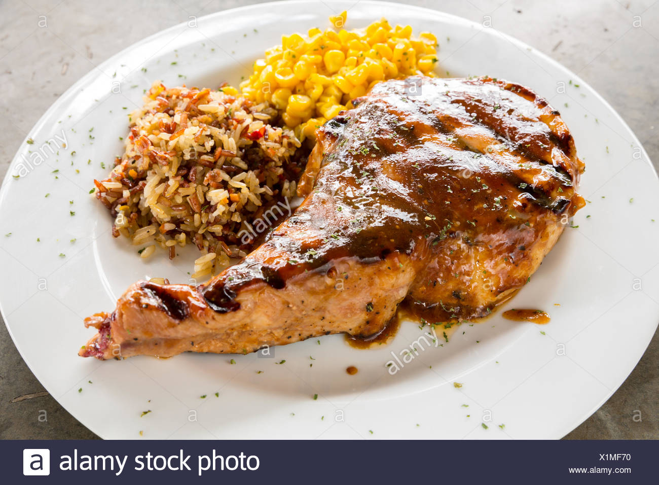 Gourmet Main Entree Course grilled pork chop Stock Photo