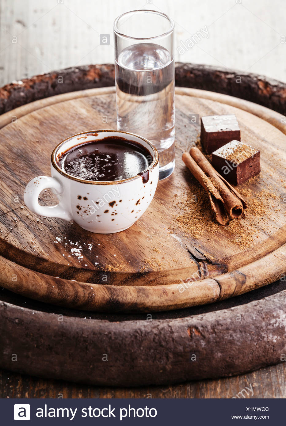 Hot chocolate with spices and water - Stock Image