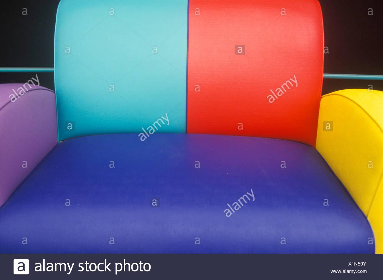 Multi colored leather sofa, Los Angeles, CA Stock Photo: 276445483 ...
