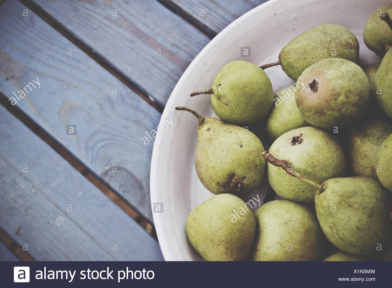High Angle View Of Pears On Plate - Stock Image