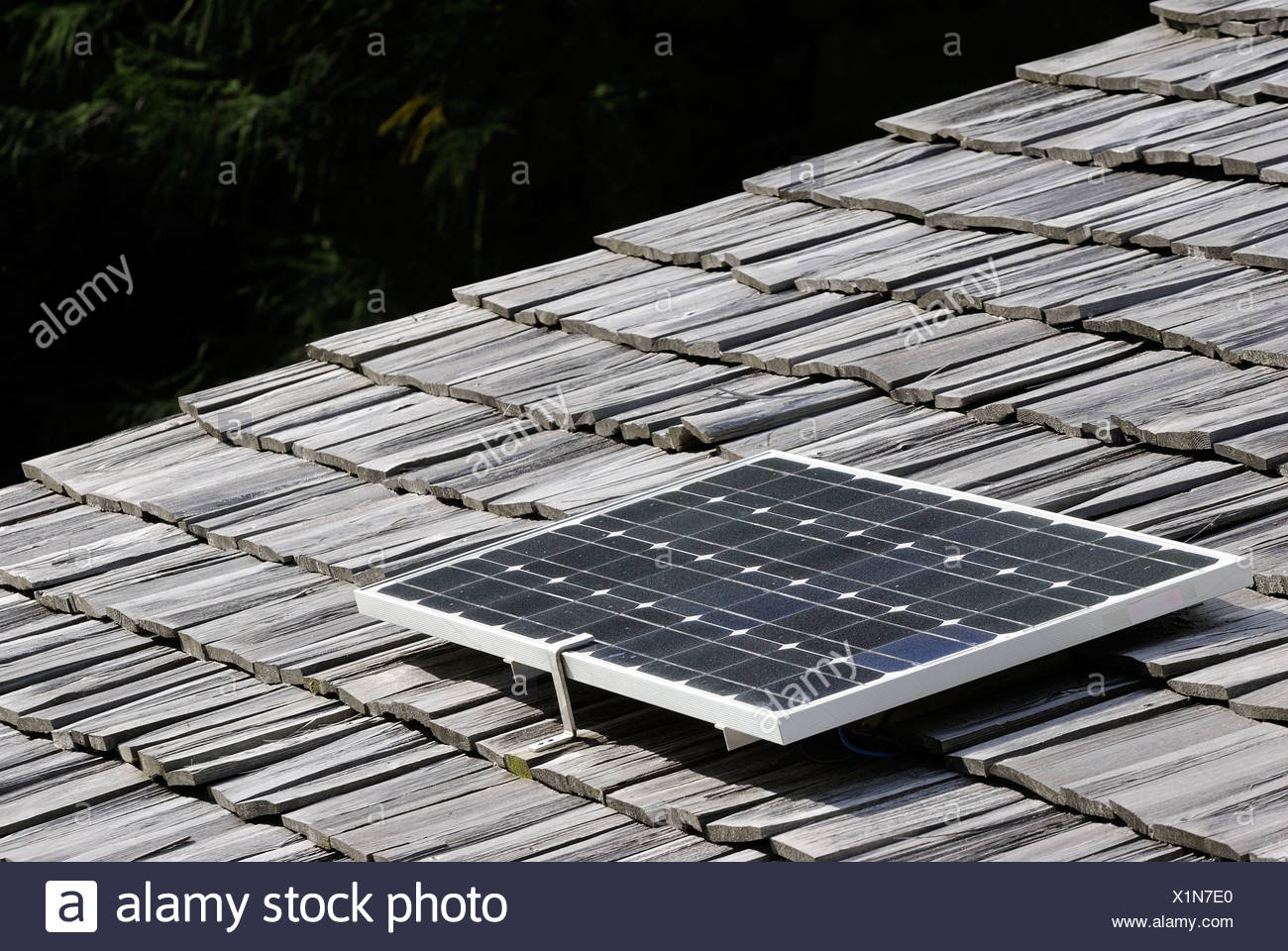 Europe, Austria, Solar panel on roof top - Stock Image