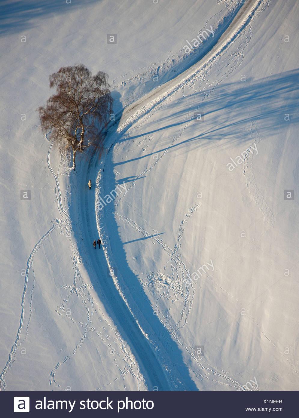 Aerial picture, snow-covered landscape, Blankenstein Auf Drehnhausen, Hattingen, Ruhr area, North Rhine-Westphalia Stock Photo