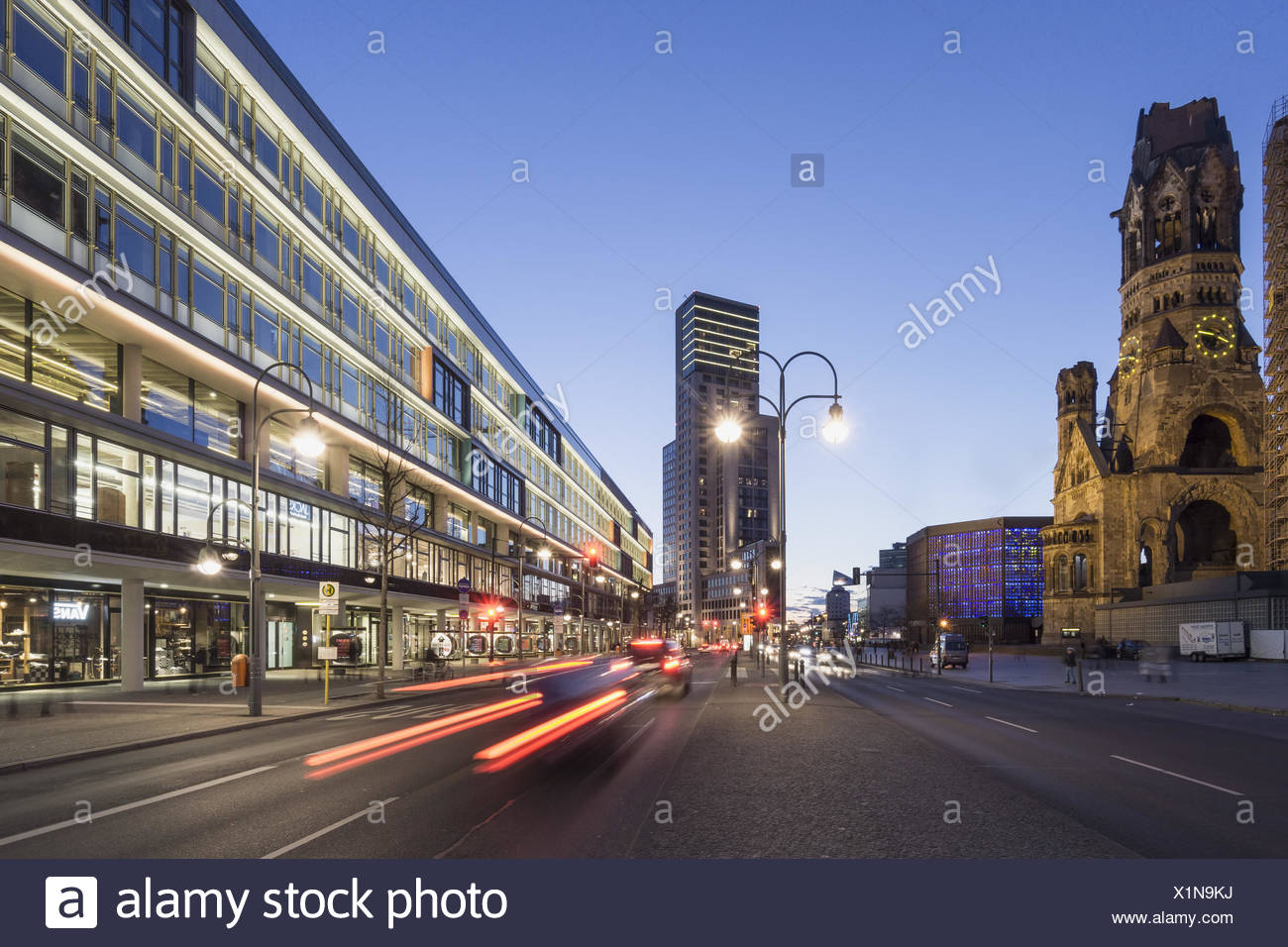 Bikini Shopping Center and Kaiser Wilhelm Memorial Church, Waldorf Astoria Hotel, Berlin, Germany Stock Photo