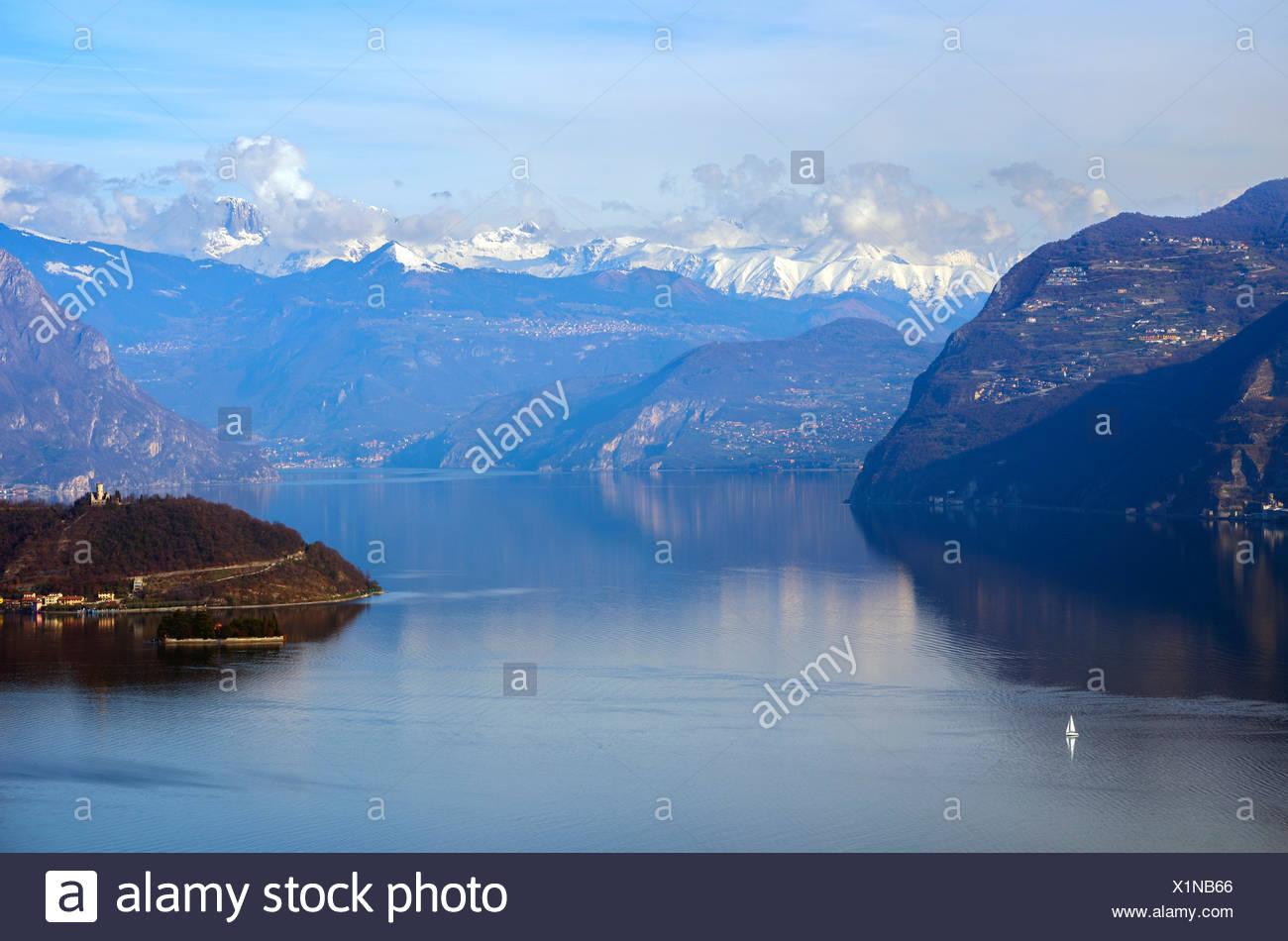 Iseo lake, province of Brescia, Italy - Stock Image