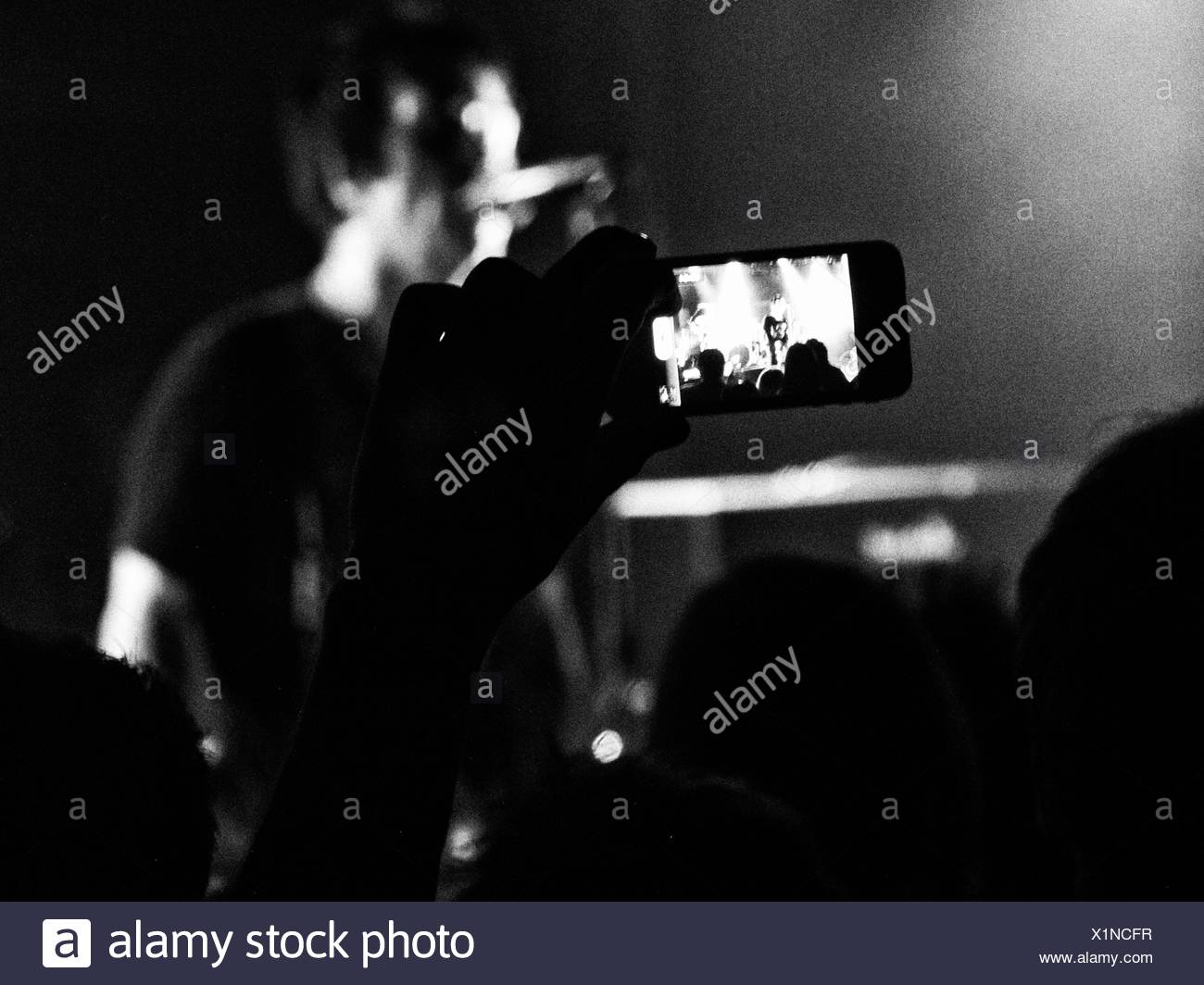 Person Taking Photos With Digital Camera During Concert - Stock Image