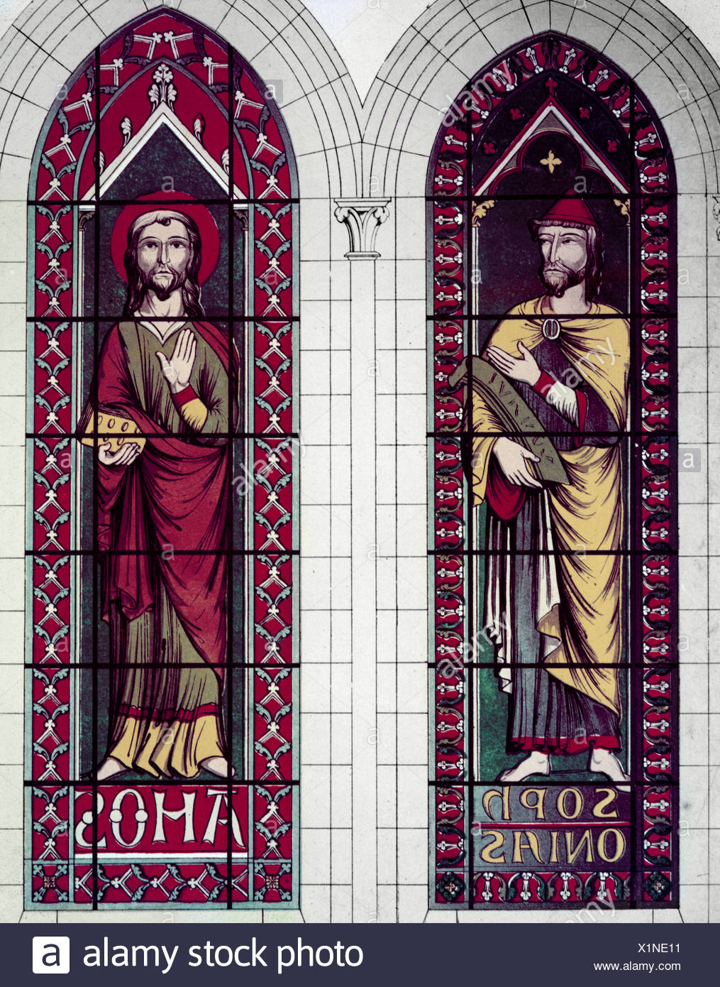 Prophets, the Sophonias And Amos, 13th Century, Stained Glass, STAINED GLASS - Stock Image