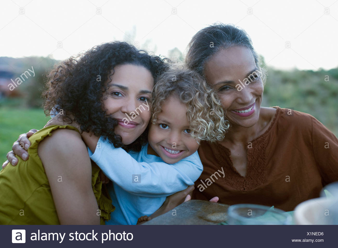 African family hugging - Stock Image