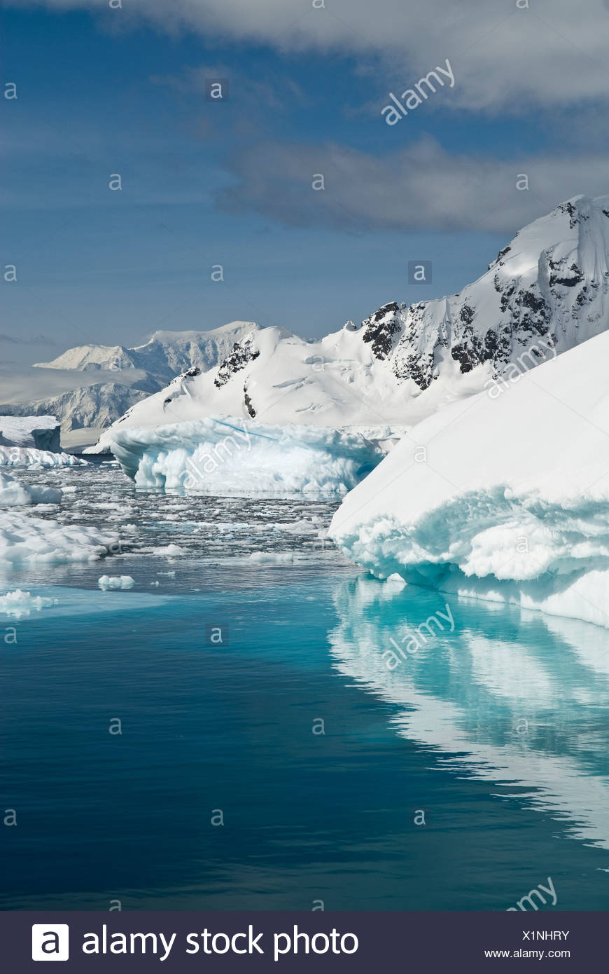 Pack ice and icebergs, Antarctica. Stock Photo