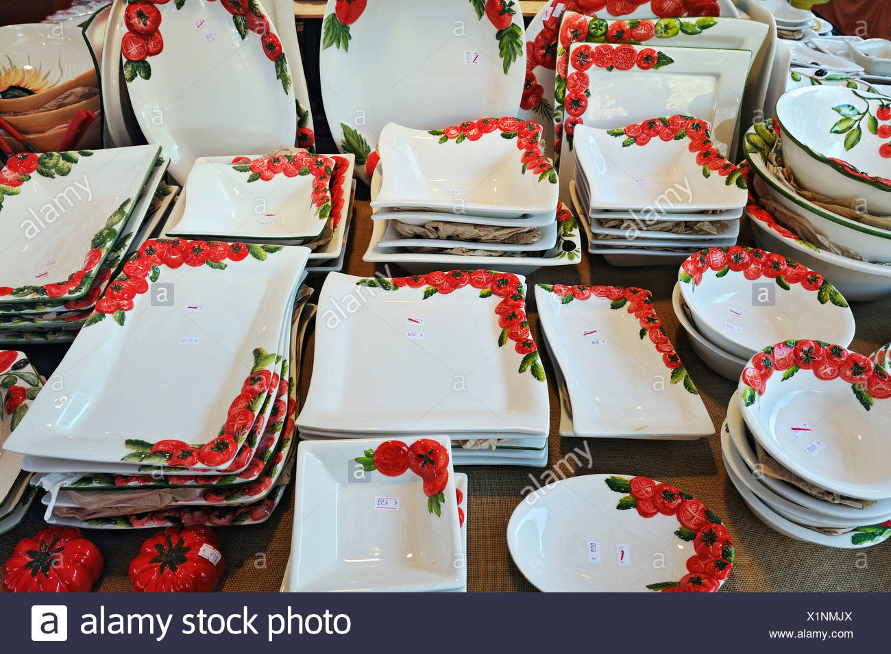 Crockery with tomato designs, Auer Dult market, Munich, Bavaria, Germany, Europe - Stock Image