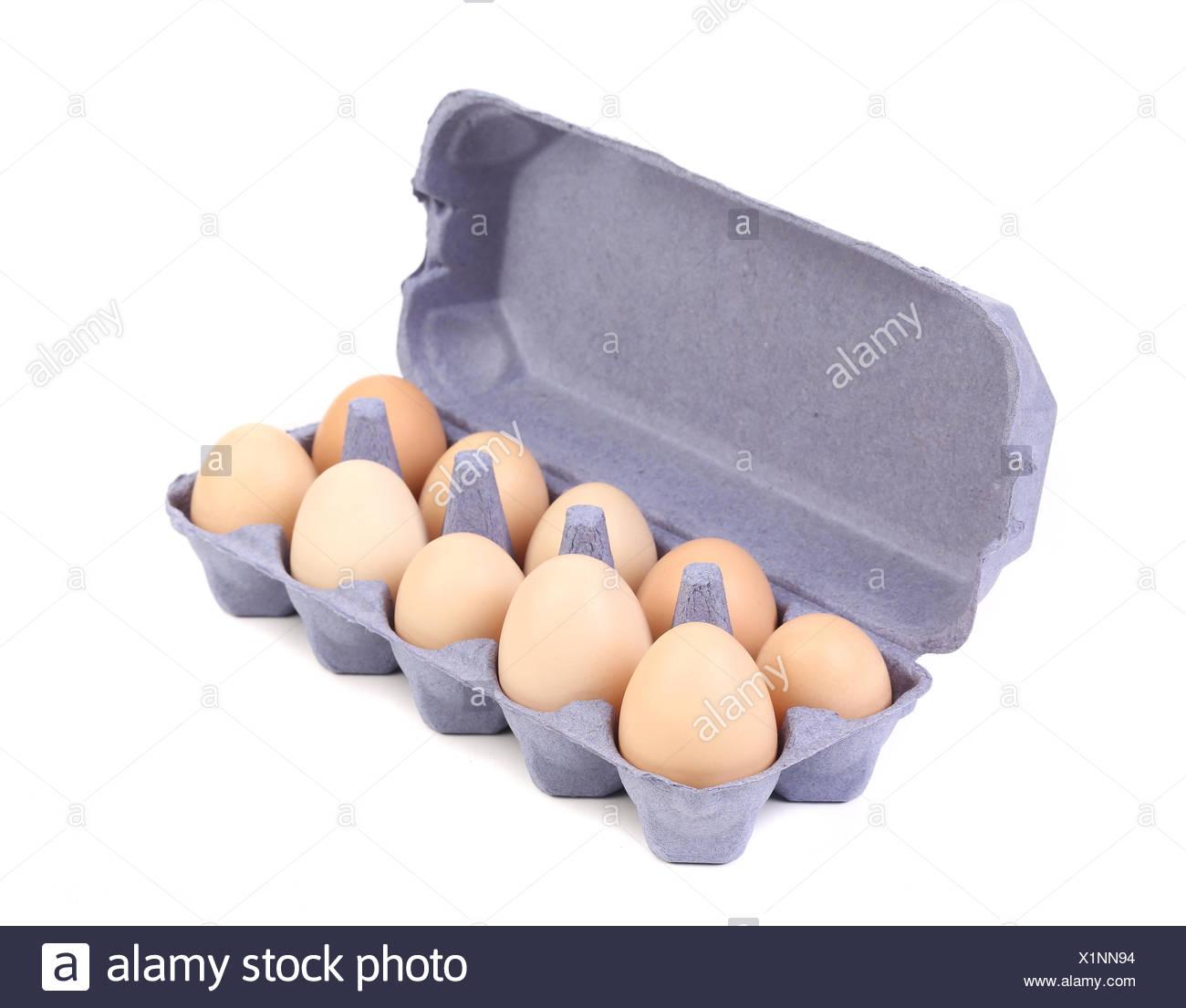 purple Cardboard egg box with ten  brown eggs - Stock Image