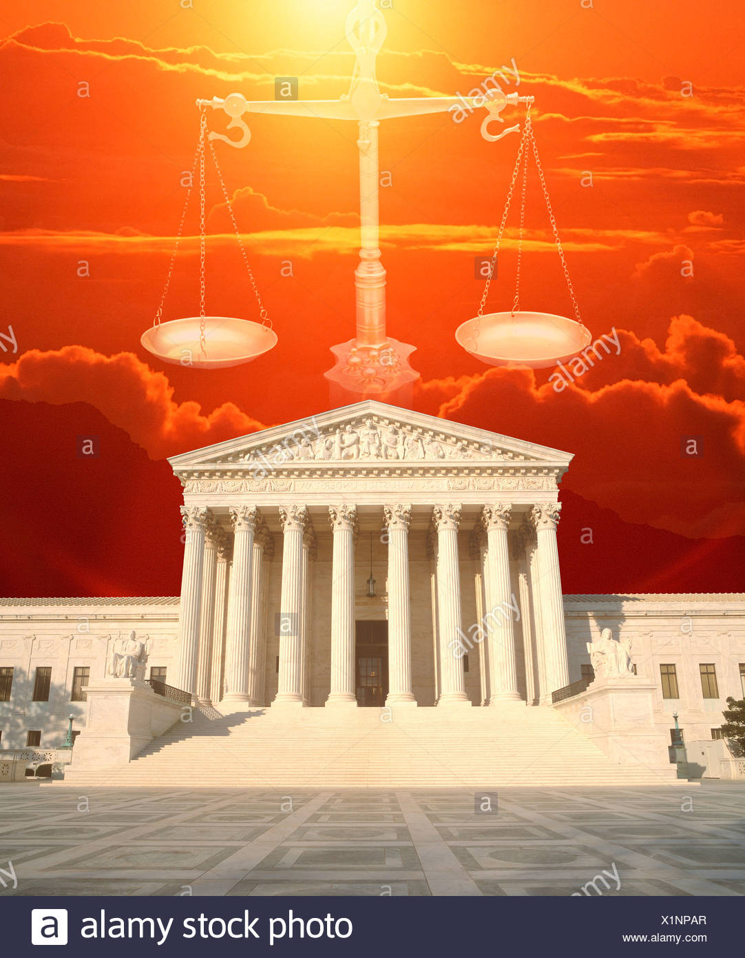 Composite image of the U.S. Supreme Court, Scales of Justice and red sky - Stock Image