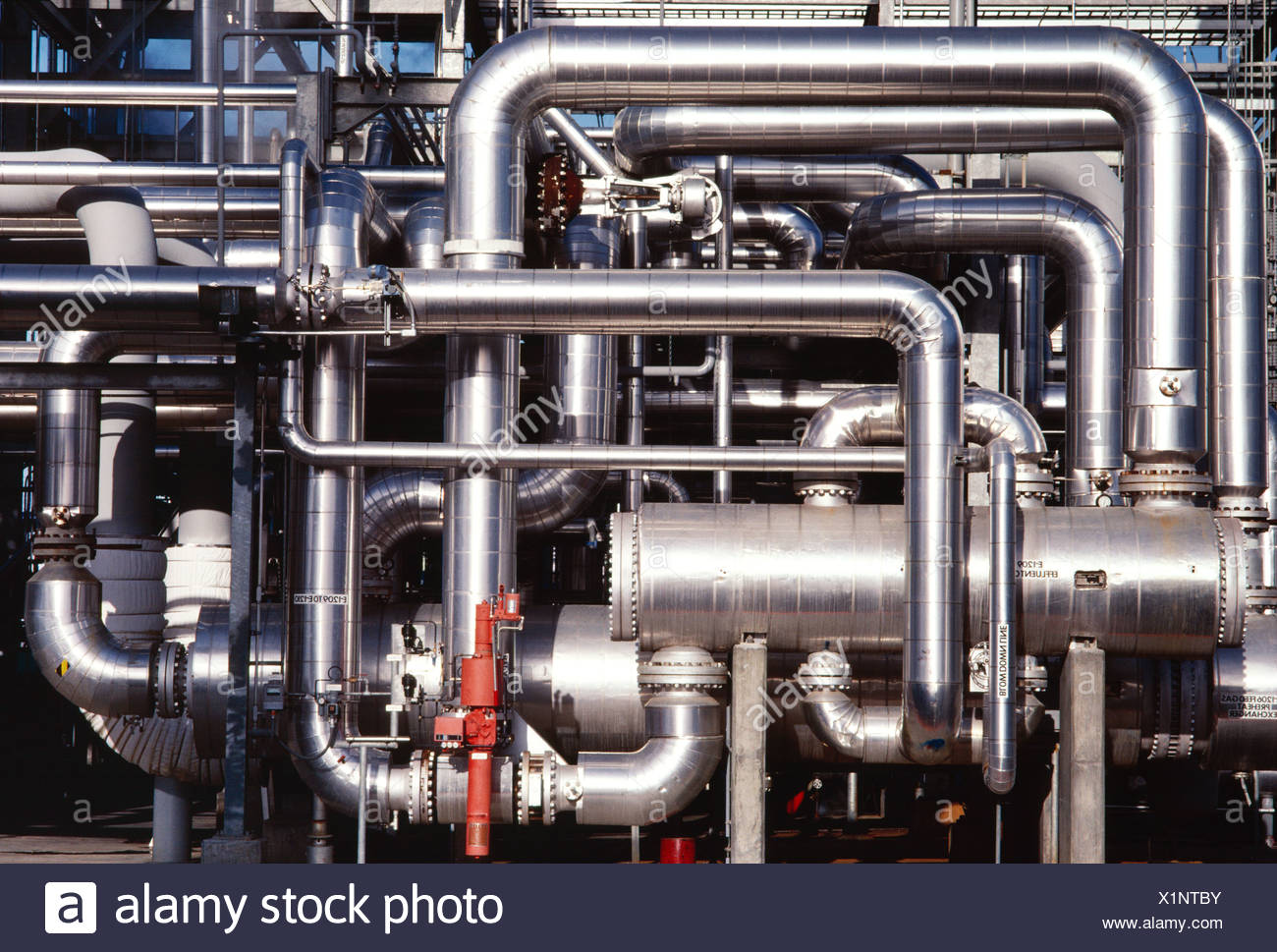 Oil Refinery pattern of pipes - Stock Image