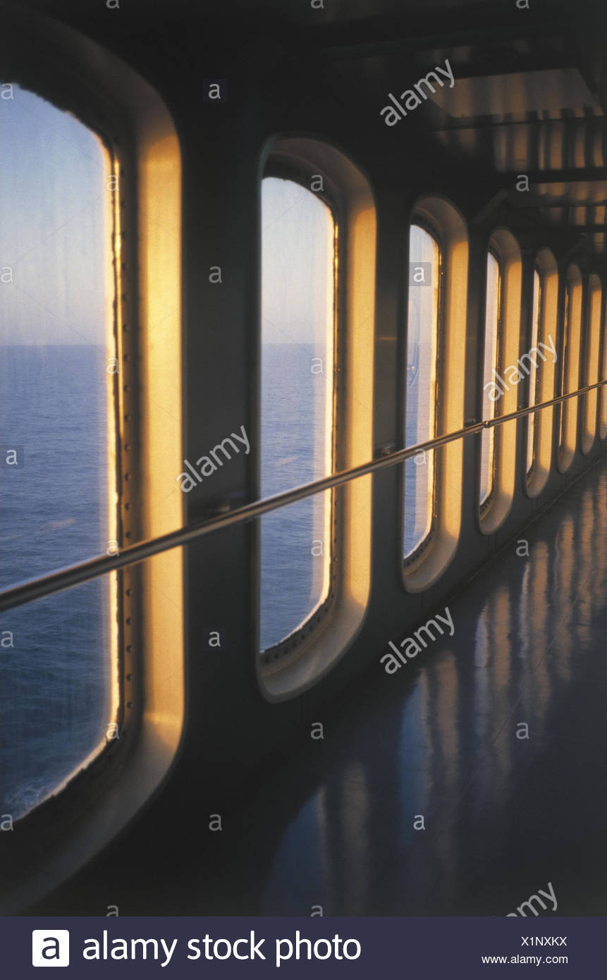 Ferry, hall, window, view, sea, Europe, Spain, itinerary, Majorca, Barcelona, ferryboat, Fährverbindung, connection, waterway, water way, navigation, cruise - Stock Image