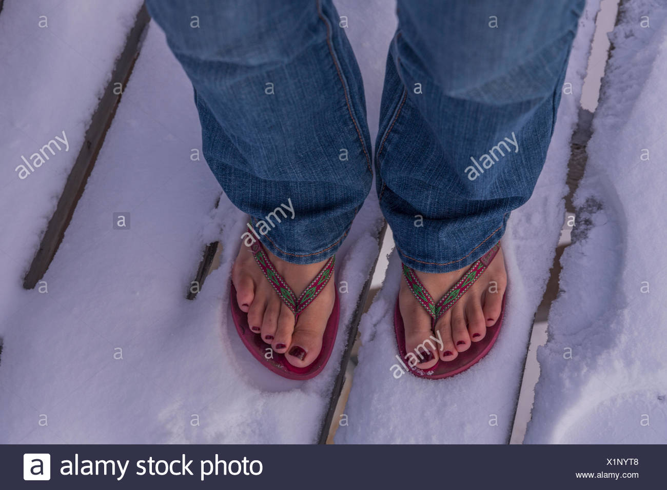 76d7b984906d9 Woman s feet standing in the snow wearing flip flops  Churchill ...