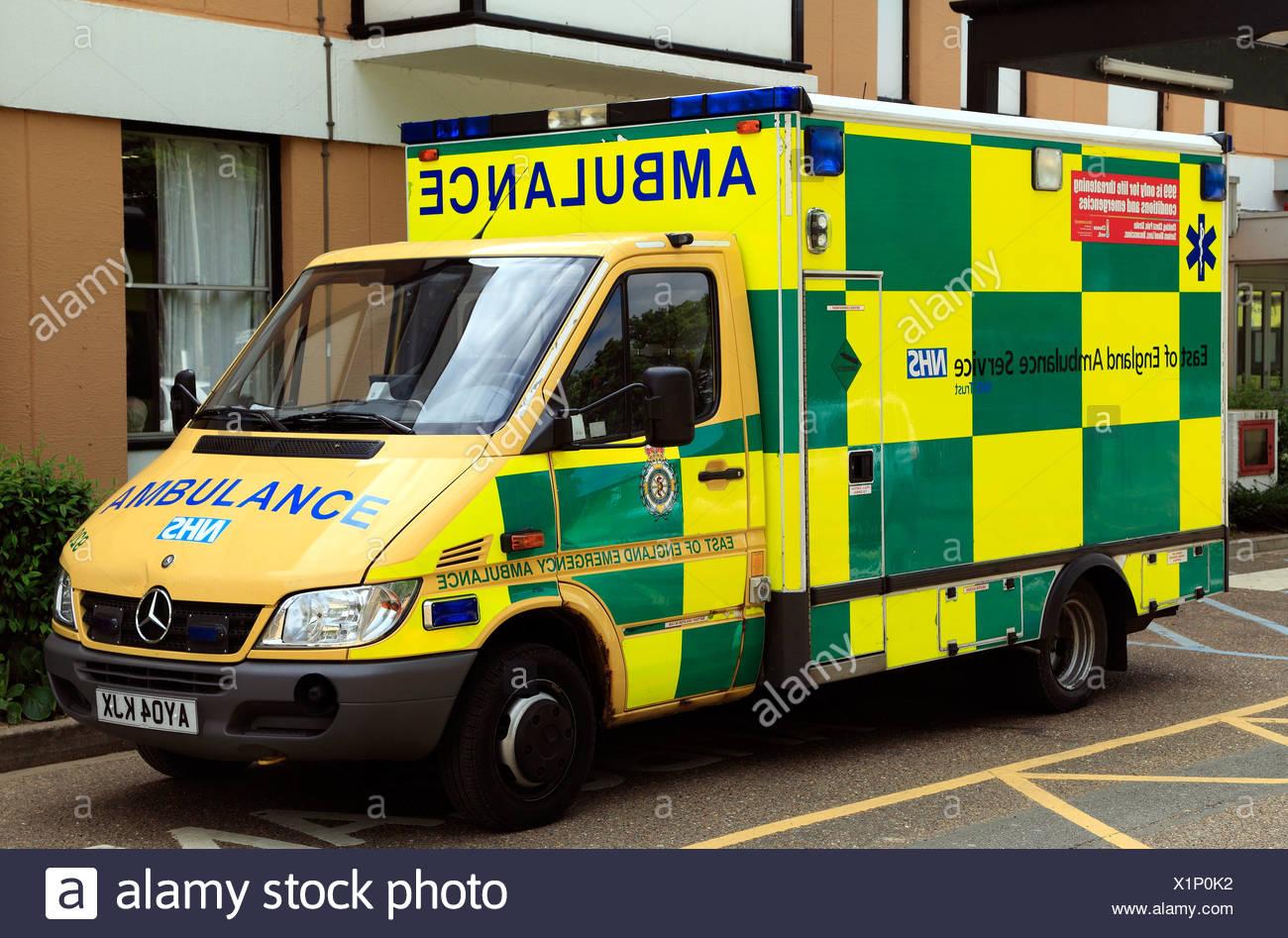 East of England Emergency Ambulance, NHS, Kings Lynn, Norfolk, England, English ambulances, vehicle - Stock Image