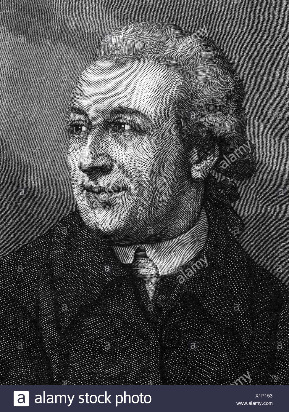 Forster, Johann Reinhold, 22.10.1729 - 9.12.1798, German naturalist, portrait, wood engraving, 19th century, , Additional-Rights-Clearances-NA - Stock Image