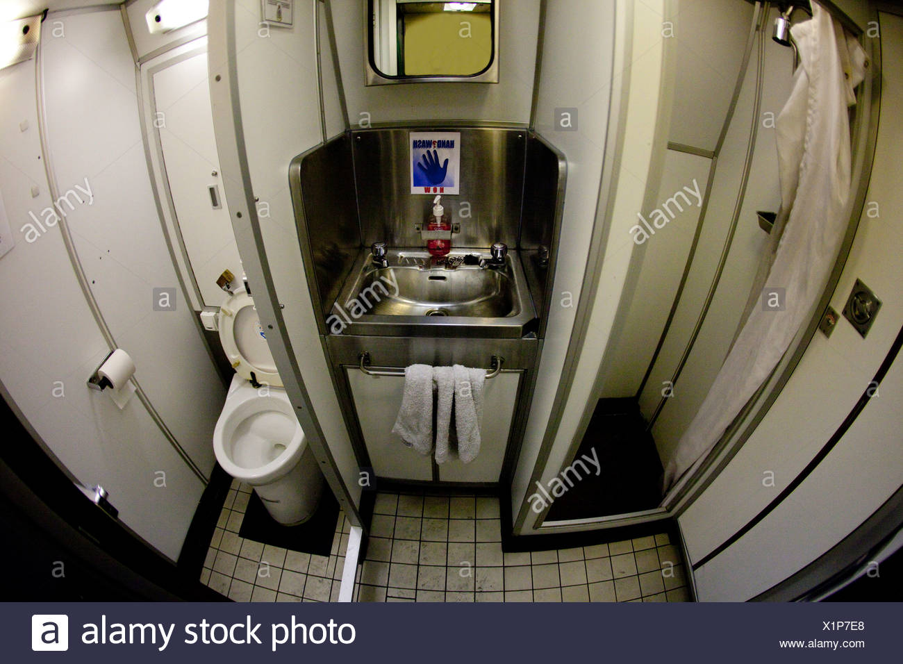 Washroom in Nuclear Submarine HMS Talent - Stock Image