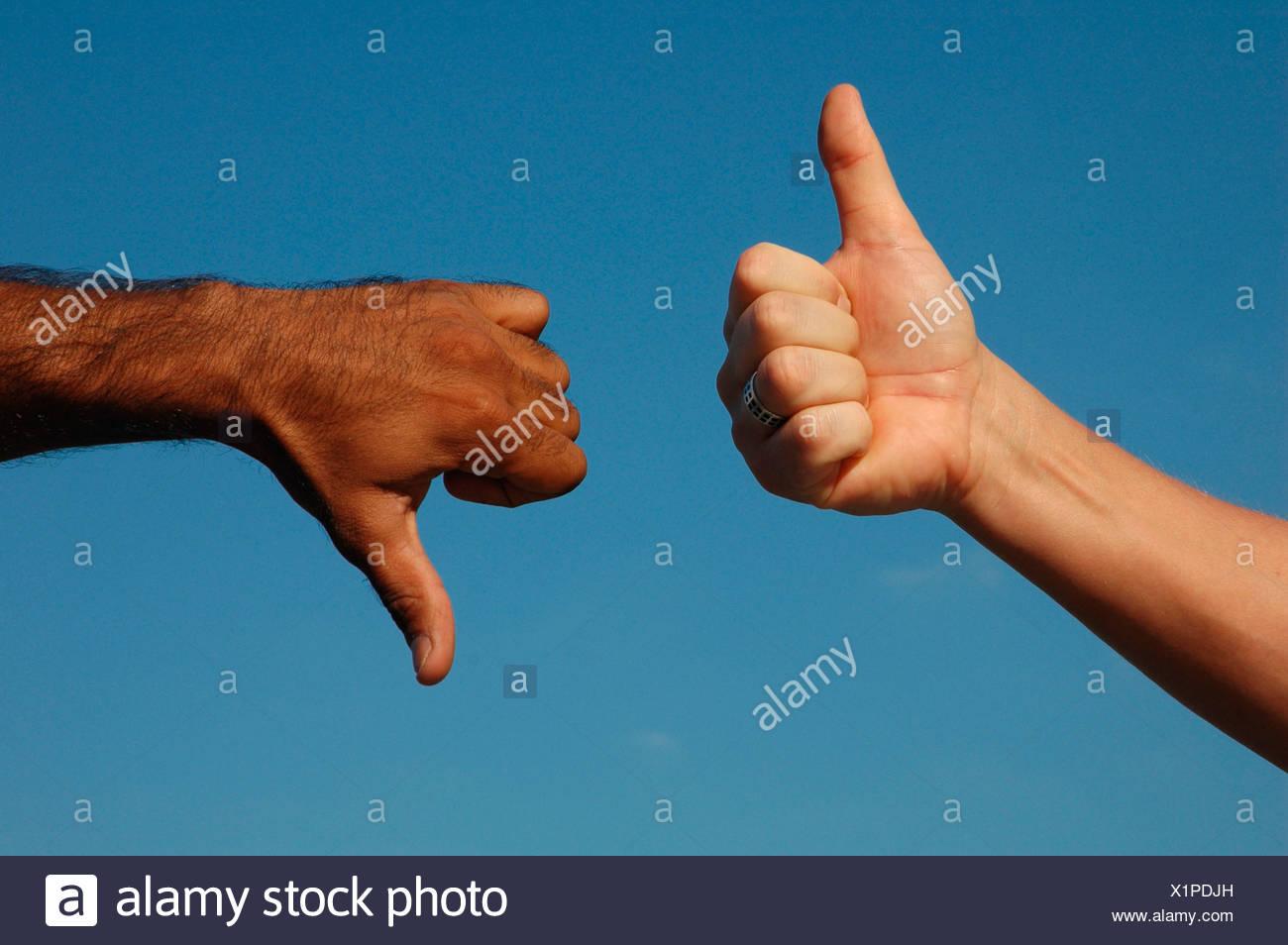 MR thumb up thumb down Stock Photo