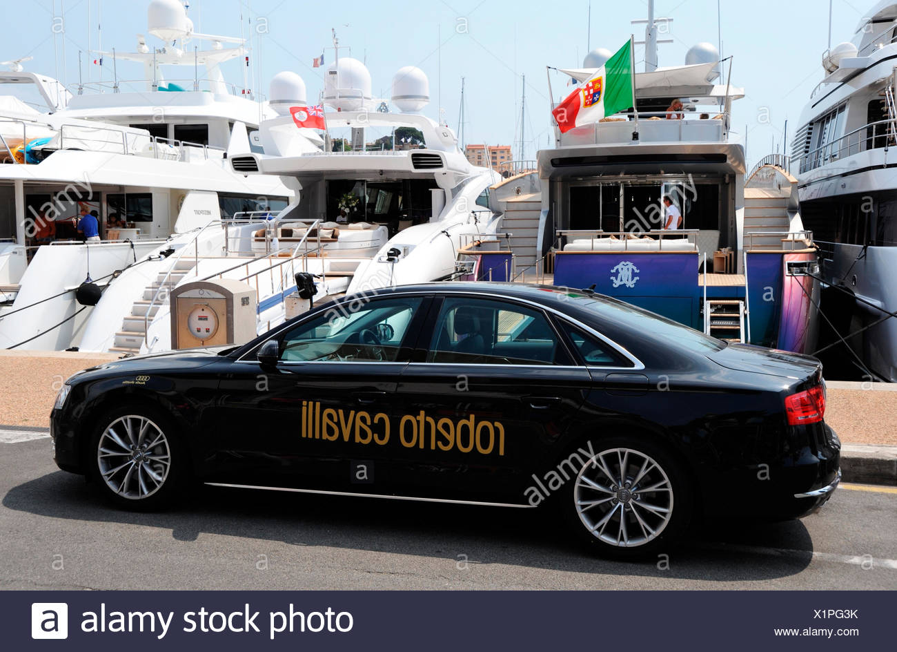 The yacht of fashion guru Roberto Cavalli, Cannes, France, Europe - Stock Image