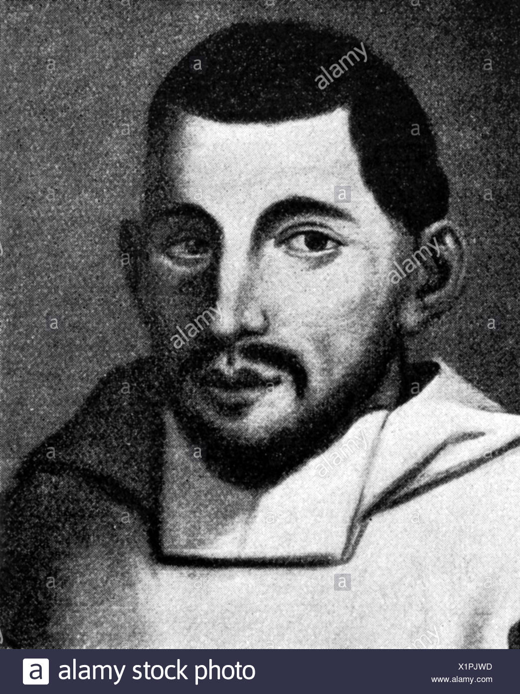 Banchieri, Adriano, 3.9.1568 - 1634, Italian musician (organist) and music theorist, portrait, after contemporary illustration, Additional-Rights-Clearances-NA - Stock Image