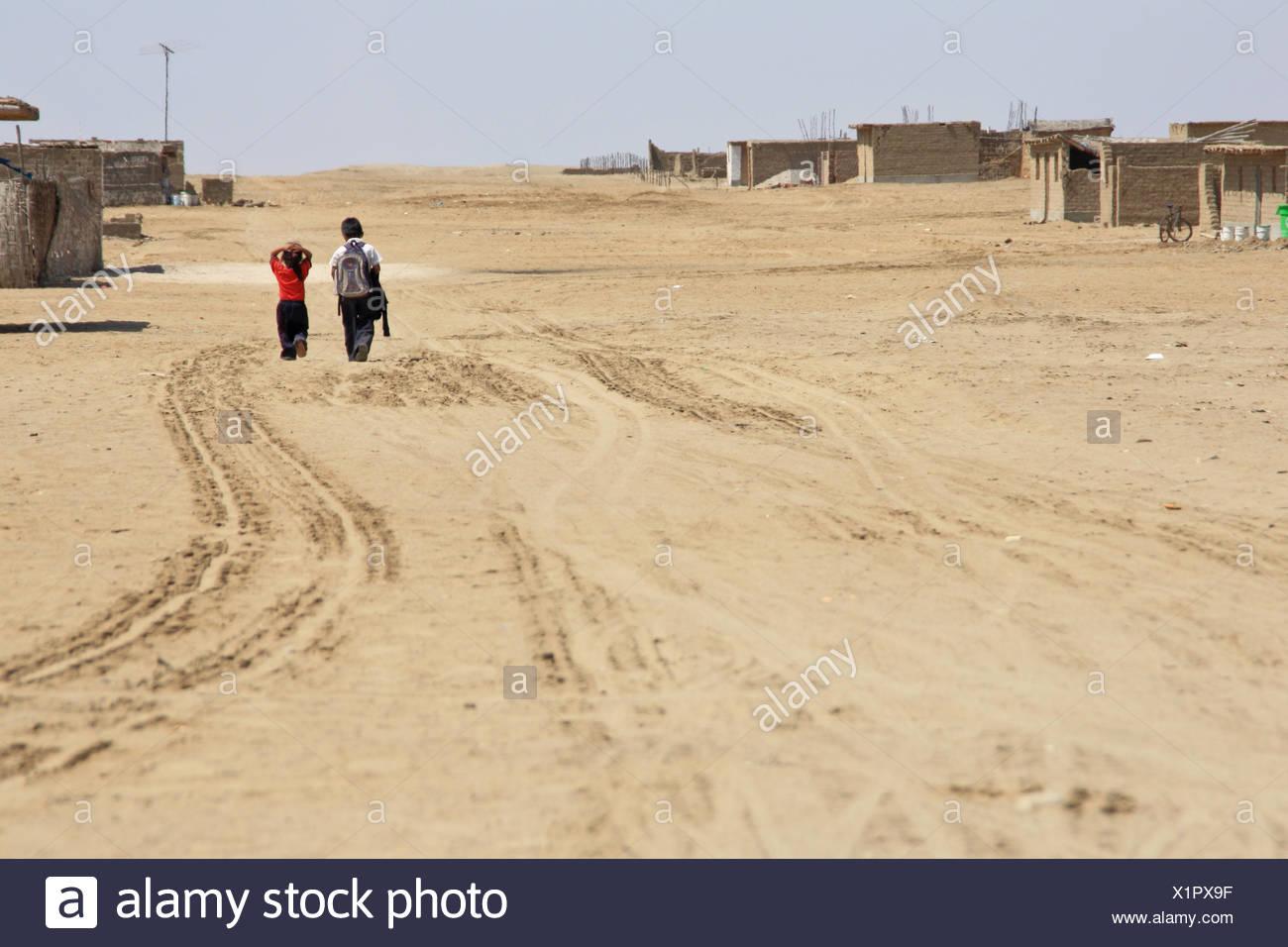 Schoolchildren in the desert - Stock Image