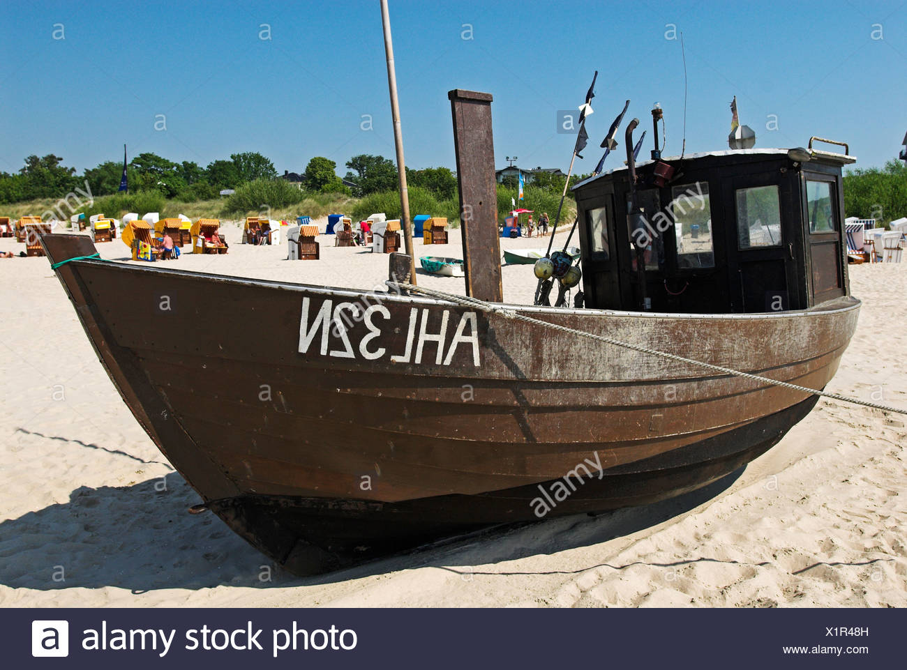 Fisher boat at the beach of Ahlbeck, Usedom island, Mecklenburg Western Pomerania, Germany, Europe - Stock Image