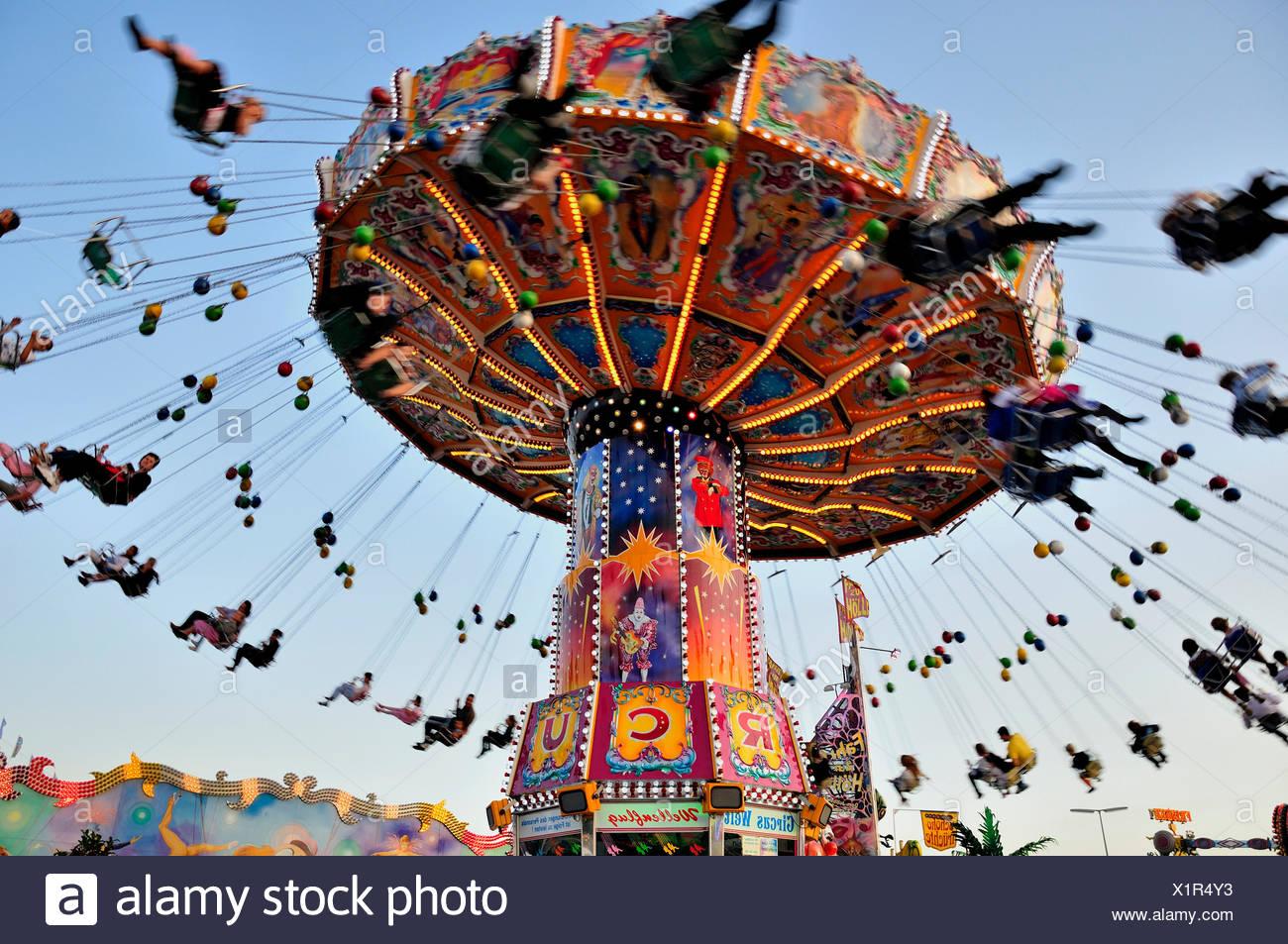 "Chairoplane or chain carousel ""Wellenflug"", Oktoberfest, Munich, Bavaria Stock Photo"