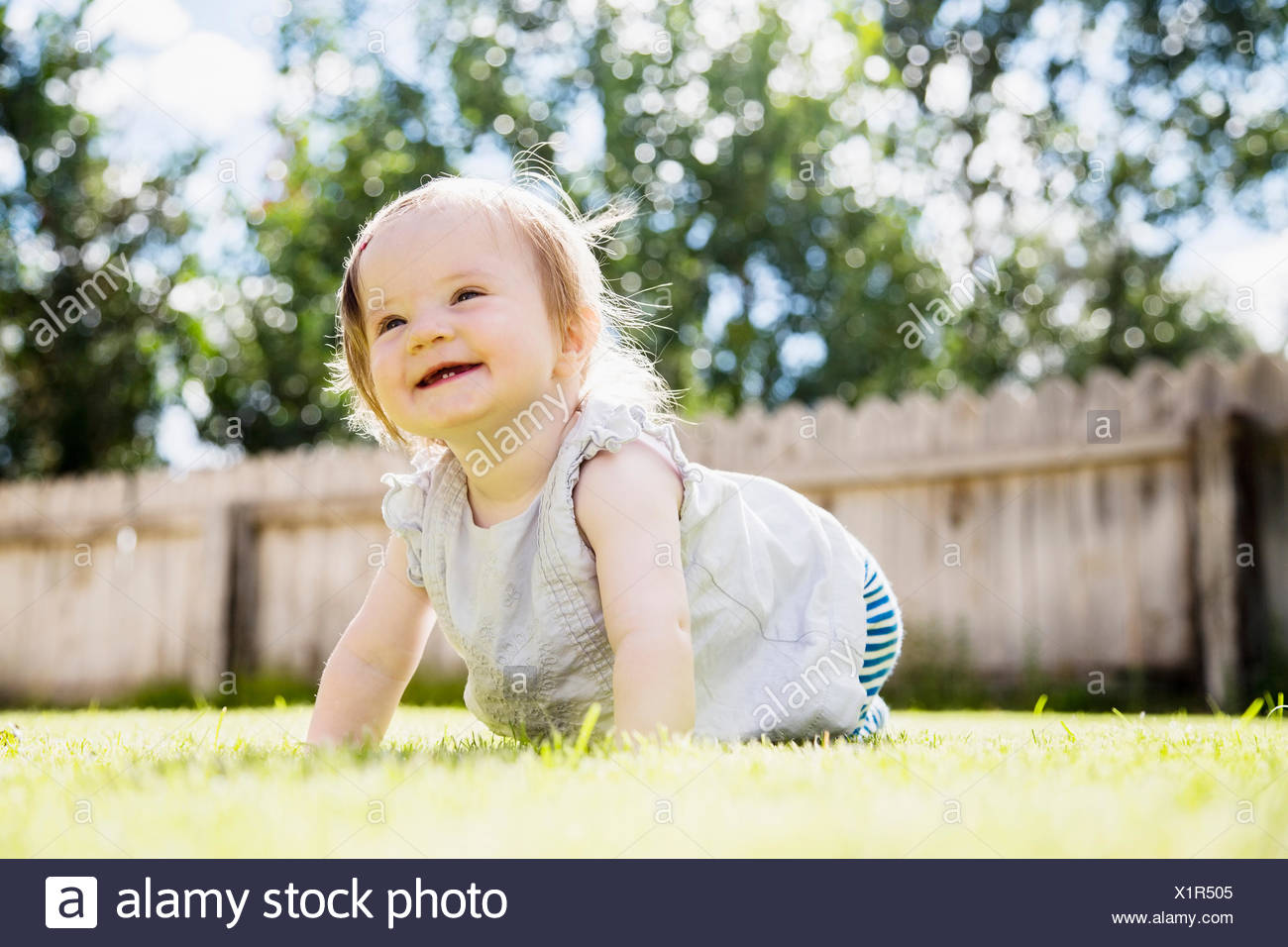 Baby girl (6-11 months) laughing in backyard - Stock Image