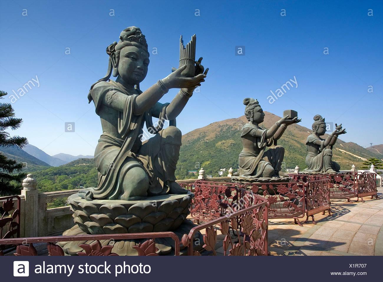 Hong Kong Hongkong Asia Lantau Iceland sculptures figures religion culture Stock Photo