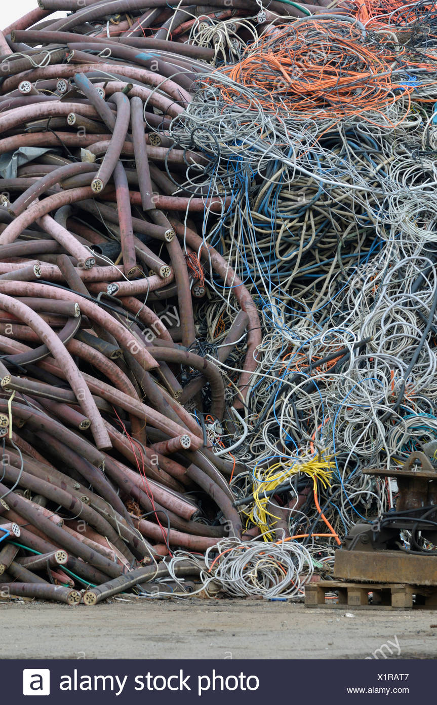 Cable collecting point, raw material recycling - Stock Image